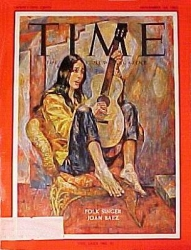 'Time', 23 November 1962. Painting of folk singer Joan Baez by Russell Hoban