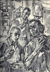 'The Atomic Submarine': Captain and officers in the attack centre. Published by Harper and Brothers